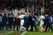 Marseille's Adil Rami and players clash after the French Championship Ligue 1 football match between Olympique de Marseille and Olympique Lyonnais on march 18, 2018 at Orange Velodrome stadium in Marseille, France - Photo Philippe Laurenson / ProSportsImages / DPPI