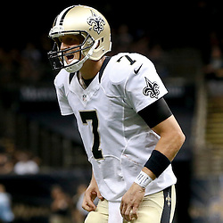 Aug 9, 2013; New Orleans, LA, USA; New Orleans Saints quarterback Luke McCown (7) against the Kansas City Chiefs during a preseason game at the Mercedes-Benz Superdome. The Saints defeated the Chiefs 17-13. Mandatory Credit: Derick E. Hingle-USA TODAY Sports
