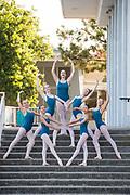 The Dance Connection Palo Alto Ballet Company poses for portraits in downtown Palo Alto, California, on September 8, 2017. (Stan Olszewski/SOSKIphoto)
