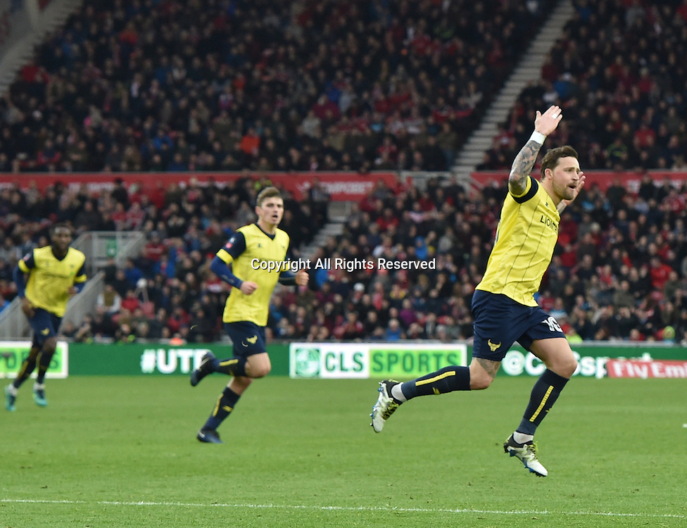 February 18th 2017,  Middlesbrough, Teesside, England; 5th Round FA Cup football, Middlesbrough versus Oxford United;  Chris Maguire of Oxford United celebrates scoring his goal