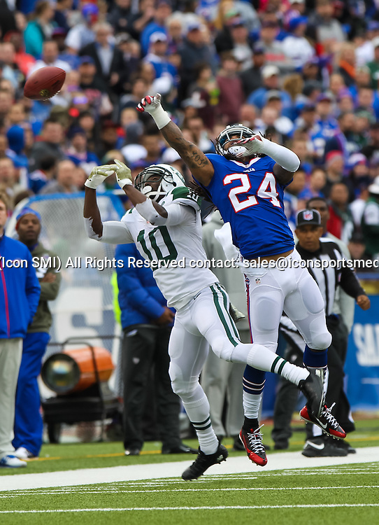 17 November 2013: Buffalo Bills cornerback Stephon Gilmore (24) knocks the ball away from New York Jets wide receiver Santonio Holmes (10) during a NFL game between the New York Jets and the Buffalo Bills at Ralph Wilson Stadium in Orchard Park, NY.