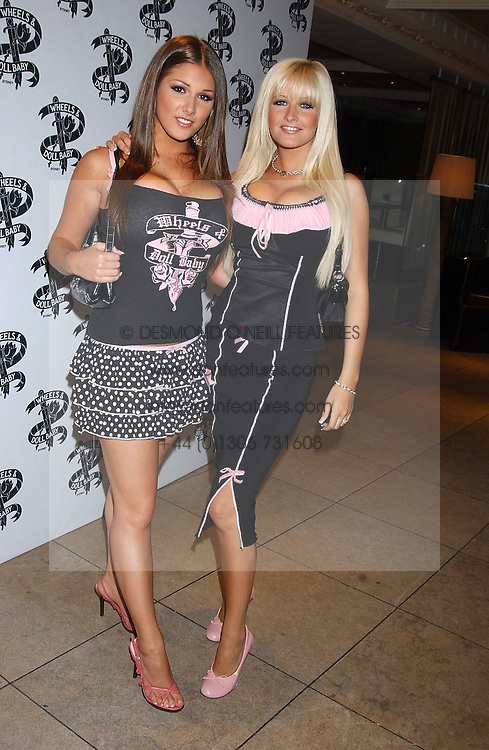 Left to right, models LUCY PINDER and MICHELLE MARSH at fashion label Wheels &amp; Dollbaby's summer party at the Embassy nightclub, Old Burlington Street, London W1 on 19th July 2005.<br />