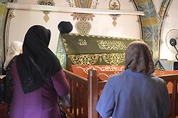 June 19, 2017 - Ankara, Turkey - Women pray at the tomb of Haci Bayram Veli in the holy month of Ramadan in Ankara, Turkey on June 19, 2017. The tomb is located next to the Haci Bayram Veli Mosque, which was built as a memorial in 1429. (Credit Image: © Altan Gocher/NurPhoto via ZUMA Press)