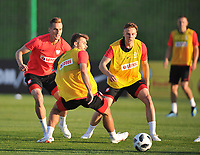 ARLAMOW, POLAND - MAY 30: Arkadiusz Milik, Karol Linetty and Szymon Zurkowski during a training session of the Polish national team at Arlamow Hotel during the second phase of preparation for the 2018 FIFA World Cup Russia on May 30, 2018 in Arlamow, Poland. MB Media