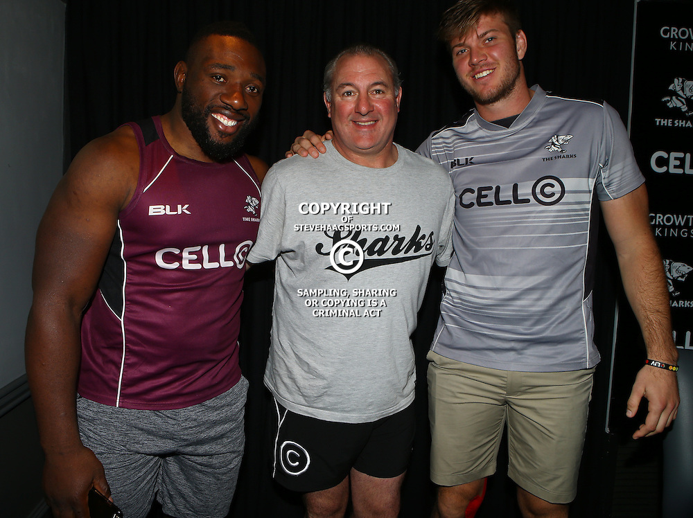 DURBAN, SOUTH AFRICA, 18,JULY, 2016 - Tendai Beast Mtawarira with Gary Gold (Sharks Director of Rugby)  and Stephan Lewies during The Cell C Sharks training session at Growthpoint Kings Park in Durban, South Africa. (Photo by Steve Haag)<br /> <br /> images for social media must have consent from Steve Haag