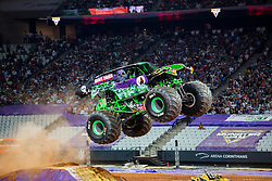December 16, 2017 - Sao Paulo, Sao Paulo, Brazil - Grave Digger jumps hight during a round of racing. Monster Jam was held at Corinthians Stadium, in Sao Paulo, Brazil. (Credit Image: © Paulo Lopes via ZUMA Wire)