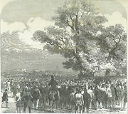 Meeting of supporters of the Reform Bill  in Hyde Park, London.  From 'The Illustrated London News', 18 May 1847.