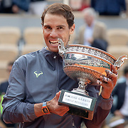 PARIS, FRANCE June 09.  Rafael Nadal of Spain with the trophy after his victory against Dominic Thiem of Austria during the Men's Singles Final on Court Philippe-Chatrier at the 2019 French Open Tennis Tournament at Roland Garros on June 9th 2019 in Paris, France. (Photo by Tim Clayton/Corbis via Getty Images)