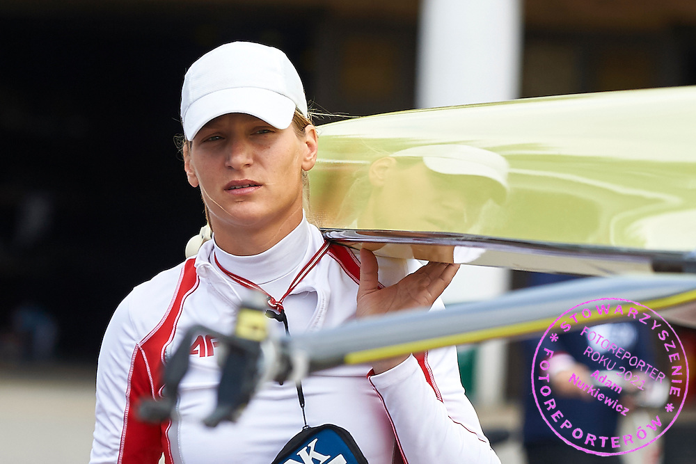Julia Michalska of Poland holds her boat before  Women&rsquo;s Single Sculls (W1x) Semifinal during second day the 2015 European Rowing Championships on Malta Lake on May 30, 2015 in Poznan, Poland<br /> Poland, Poznan, May 30, 2015<br /> <br /> Picture also available in RAW (NEF) or TIFF format on special request.<br /> <br /> For editorial use only. Any commercial or promotional use requires permission.<br /> <br /> Mandatory credit:<br /> Photo by &copy; Adam Nurkiewicz / Mediasport