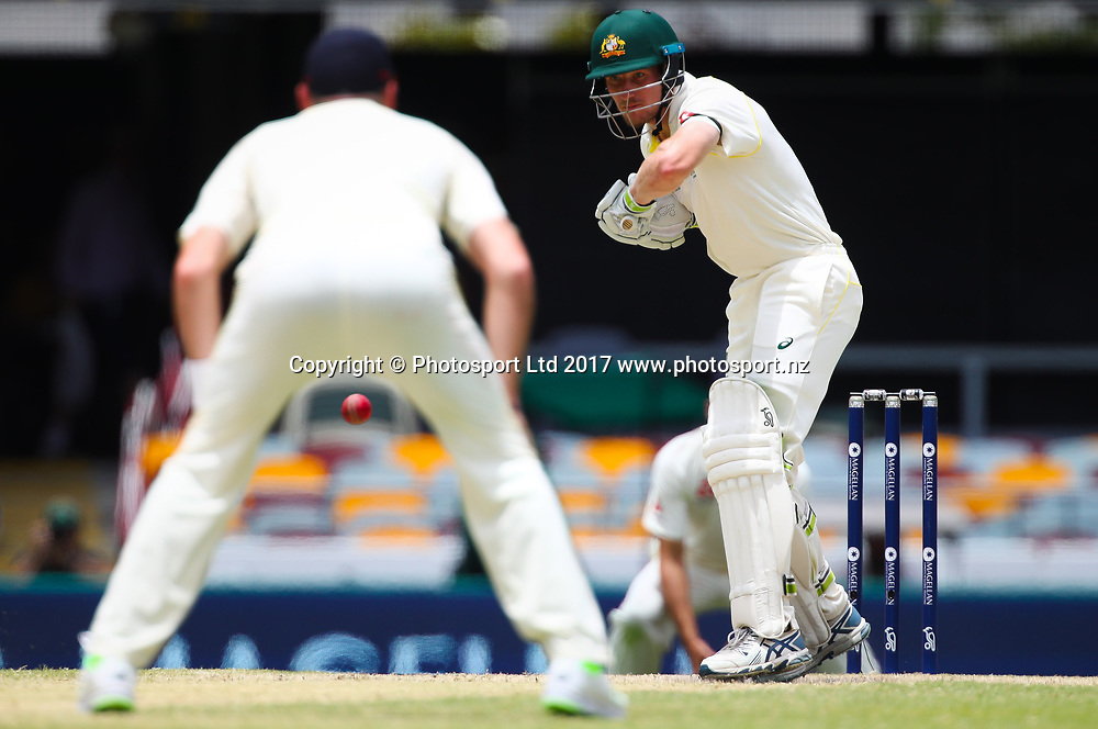 Australian player's Cameron Bancroft hits the winning runs to give Australia victory in the First Test at the Gabba, 27 Nov 2017. England's cricket board is investigating an alleged physical altercation between Jonny Bairstow and Cameron Bancroft that occurred in a Perth bar earlier this month. Copyright photo: Patrick Hamilton / www.photosport.nz