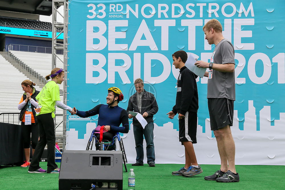 33rd Annual Nordstrom Beat the Bridge Run award winners - wheelchair division.
