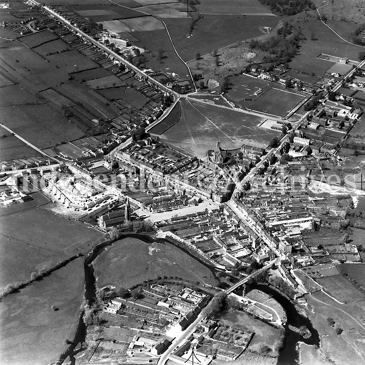 A34 Ballinasloe.   (24/10/52) (Part of the Independent Newspapers Ireland/NLI collection.)<br /> <br /> <br /> These aerial views of Ireland from the Morgan Collection were taken during the mid-1950's, comprising medium and low altitude black-and-white birds-eye views of places and events, many of which were commissioned by clients. From 1951 to 1958 a different aerial picture was published each Friday in the Irish Independent in a series called, 'Views from the Air'.<br /> The photographer was Alexander 'Monkey' Campbell Morgan (1919-1958). Born in London and part of the Royal Artillery Air Corps, on leaving the army he started Aerophotos in Ireland. He was killed when, on business, his plane crashed flying from Shannon.