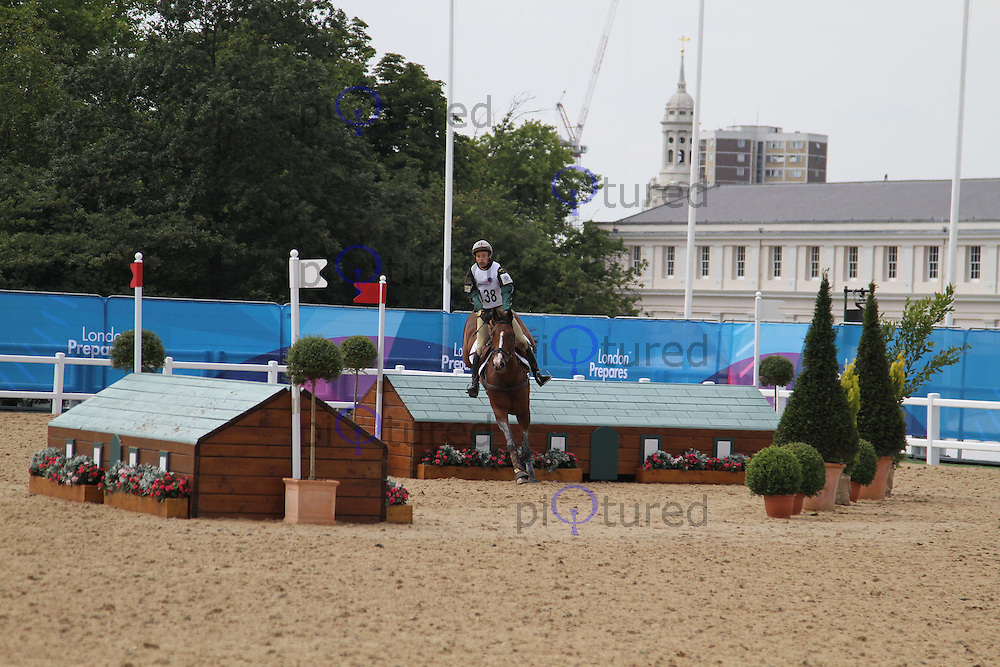 Donatien Schauly; Pivoine Des Touches London 2012 Olympics Sport Testing Program Greenwich Park Cross Country Eventing, London, UK, 05 July 2011:  Contact: Rich@Piqtured.com +44(0)7941 079620 (Picture by Richard Goldschmidt)