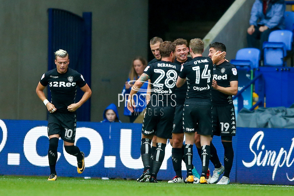 Leeds United midfielder Kalvin Phillips (23) scores a goal and celebrates to make the score 0-1 during the EFL Sky Bet Championship match between Bolton Wanderers and Leeds United at the Macron Stadium, Bolton, England on 6 August 2017. Photo by Simon Davies.