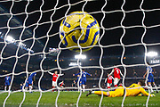 GOAL 2-2 Arsenal defender Héctor Bellerín (2) beats Chelsea goalkeeper Kepa Arrizabalaga (1) during the Premier League match between Chelsea and Arsenal at Stamford Bridge, London, England on 21 January 2020.