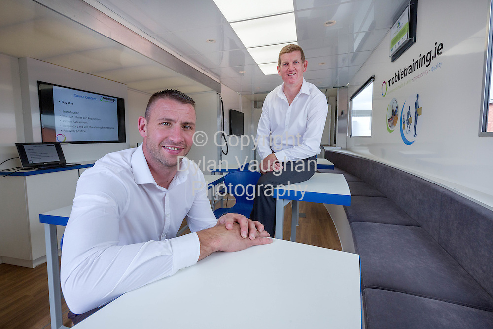Repro Free No Charge for Repro<br /> <br /> 02-9-15<br /> <br /> JP Ryan of Mobiletraining.ie will launch his new, custom-built, mobile training pod at this year&rsquo;s National Ploughing Championships, a training unit which make training for up to 12 people at a time more accessible and affordable and ultimately, help reduce accidents and fatalities across a variety of industries. Also included is training enthusiast and Waterford hurling selector, Dan Shanahan. For more, log on to www.mobiletraining.ie<br /> <br /> Picture Dylan Vaughan.