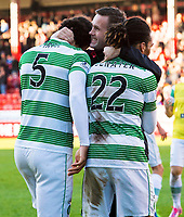 09/11/14 SCOTTISH PREMIERSHIP <br /> ABERDEEN v CELTIC <br /> PITTODRIE - ABERDEEN<br /> Celtic manager Ronny Deila (centre) congratulates Virgil van Dijk and Jason Denayer at the full time whistle