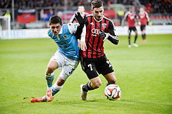 02.03.2015, Audi Sportpark, Ingolstadt, GER, 2. FBL, FC Ingolstadt 04 vs TSV 1860 M&uuml;nchen, 23. Runde, im Bild Maximilian Wittek (TSV 1860 Muenchen), Mathew Leckie ( FC Ingolstadt, v.li. Aktion // during the 2nd German Bundesliga 23rd round match between FC Ingolstadt 04 and TSV 1860 M&uuml;nchen at the Audi Sportpark in Ingolstadt, Germany on 2015/03/02. EXPA Pictures &copy; 2015, PhotoCredit: EXPA/ Eibner-Pressefoto/ Buthmann<br /> <br /> *****ATTENTION - OUT of GER*****
