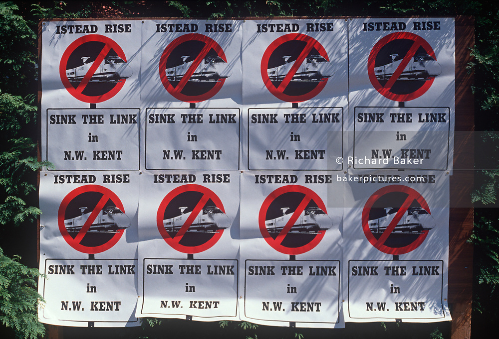 A detail of home-made posters by residents from Kent over the planned high-speed (TGV-style) rail link from London to the south-east coast, on 5th August 1989, in London, England. Locals from the Darenth Valley in rural Kent, against the forthcoming Channel Tunnel rail link organised their own campaign to reverse decisions by British Rail to cut a new rail link through their community. British Rail announced that 150mph TGV trains would travel through their rural Kent countryside, forcing residents to sell their homes within a 240 metre corridor to the rail line, at great loss while splitting up the community.