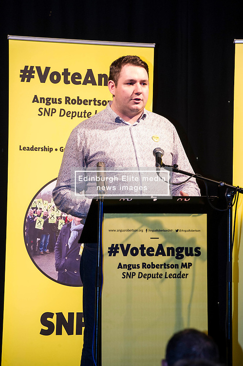 Pictured: Angus Robertson's campaign manager Nathan Sparling welcome Mr Robertson to the stage.<br /> MP Angus Robertson launched his campaign for depute leadership of the SNP today. Mr Robertson made his first public speech since declaring his bid for the post, at the Voodoo Rooms in Edinburgh <br /> <br /> Ger Harley | EEm 28 July 2016