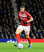 Rudy Gestede (14) of Middlesbrough on the attack during the EFL Sky Bet Championship match between Fulham and Middlesbrough at Craven Cottage, London, England on 17 January 2020.