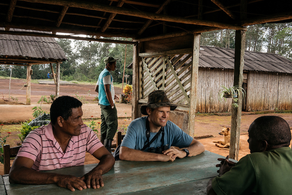 Martjan Lammertink talks with Jesus Ymbert Planas, the chief of the forest station in Humbolt National Park on Jan. 30, 2016.