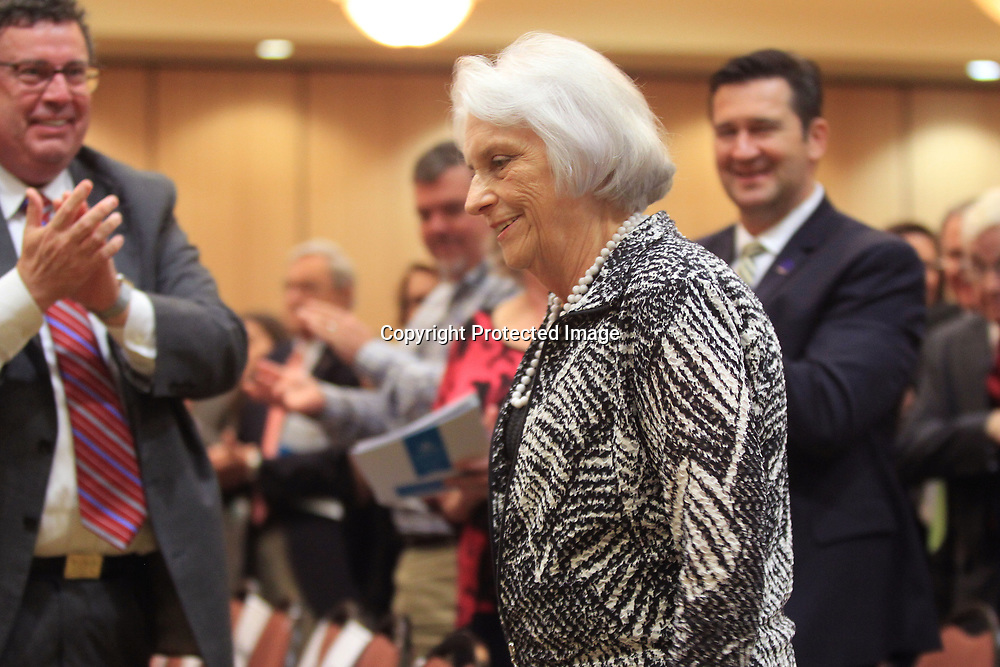 Dr. Gloria Kellum, long time teacher and administrator at the Univerisity of Mississippi, walks to the stage after being named the recipient of the Jack Reed, Sr. Community Leadership Award, during the CREATE Foundation's State of the Region meeting Wednesday morning in Tupelo.