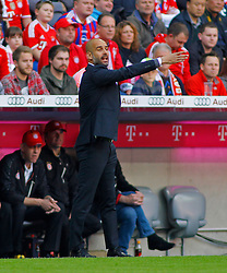 MUNICH, GERMANY - OCTOBER 18: Josep Guardiola head coach of Bayern Munich issues instructions to his team during the Bundesliga match between Bayern Munich and Werder Bremen. October 18, 2014 in Munich, Germany. Photo mandatory by-line: Mitchell Gunn