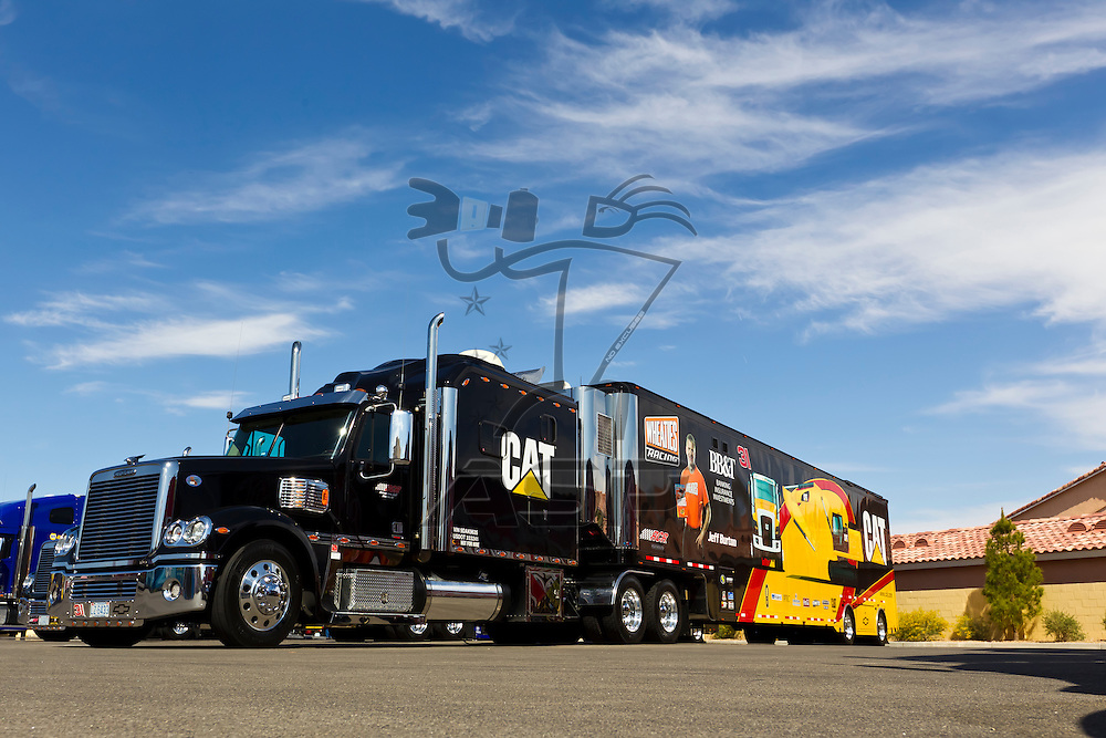 LAS VEGAS, NV - MAR 08, 2012:  The NASCAR Sprint Cup hauler of Mark Martin (55) waits to enter the Las Vegas Motor Speedway before the running of the Kobalt Tools 400 race in Las Vegas, NV.