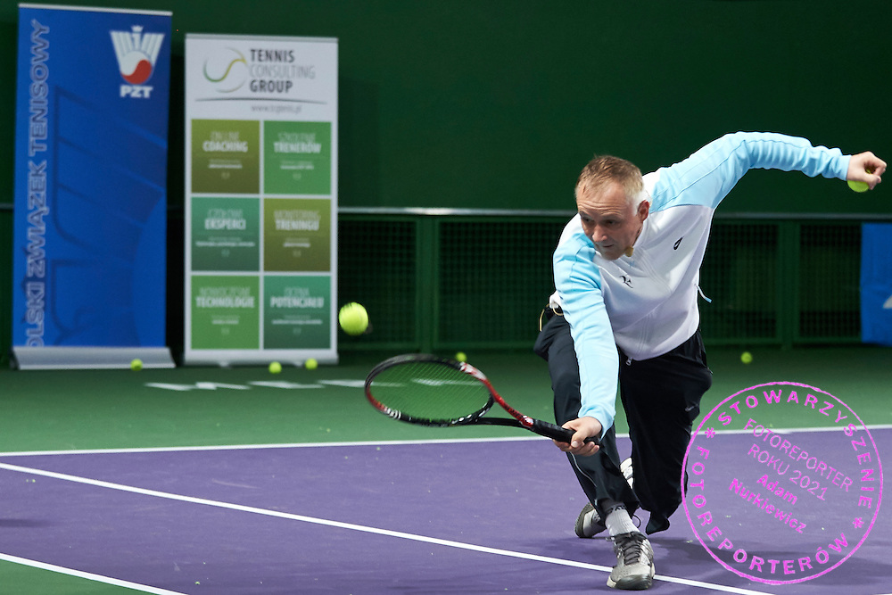 Dr Tomasz Schefke shows training's exercises during PZT - Trainer's Conference of Polish Tennis Association at Mera Hall in Warsaw, Poland.<br /> <br /> Poland, Warsaw, November 29, 2015<br /> <br /> Picture also available in RAW (NEF) or TIFF format on special request.<br /> <br /> Any editorial, commercial or promotional use requires permission.<br /> <br /> Adam Nurkiewicz declares that he has no rights to the image of people at the photographs of his authorship.<br /> <br /> Mandatory credit:<br /> Photo by &copy; Adam Nurkiewicz / Mediasport