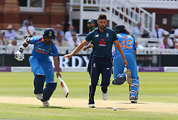 July 14, 2018 - London, Greater London, United Kingdom - L-R Shikhar Dhawan of India and England's Mark Wood.during 2nd Royal London One Day International Series match between England and India at Lords Cricket Ground, London, England on 14 July 2018. (Credit Image: © Action Foto Sport/NurPhoto via ZUMA Press)