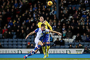 Blackburn Rovers Forward, Sam Gallagher (19) and Leeds United defender Luke Ayling (2) battle during the EFL Sky Bet Championship match between Blackburn Rovers and Leeds United at Ewood Park, Blackburn, England on 2 February 2017. Photo by Pete Burns.