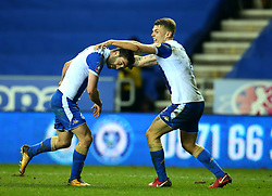 Will Grigg of Wigan Athletic celebrates with teammate Max Power after scoring a goal to make it 1-0 - Mandatory by-line: Robbie Stephenson/JMP - 19/02/2018 - FOOTBALL - DW Stadium - Wigan, England - Wigan Athletic v Manchester City - Emirates FA Cup fifth round proper