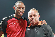 PRETORIA, SOUTH AFRICA, Friday 20 April 2012, Khotso Mokoena and coach Hannes Coetzee during the Yellow Pages Series 3 held at the Absa Tuks stadium..Photo by Roger Sedres/ImageSA/ASA