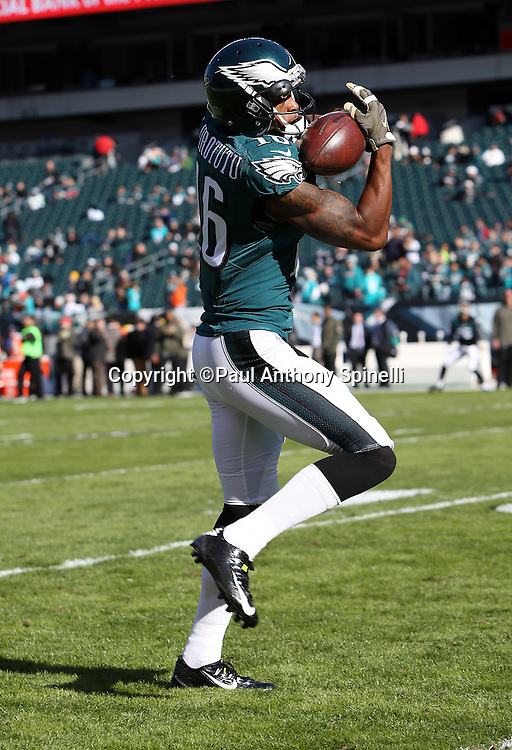 Philadelphia Eagles wide receiver Seyi Ajirotutu (16) catches a pass while warming up before the 2015 week 10 regular season NFL football game against the Miami Dolphins on Sunday, Nov. 15, 2015 in Philadelphia. The Dolphins won the game 20-19. (©Paul Anthony Spinelli)