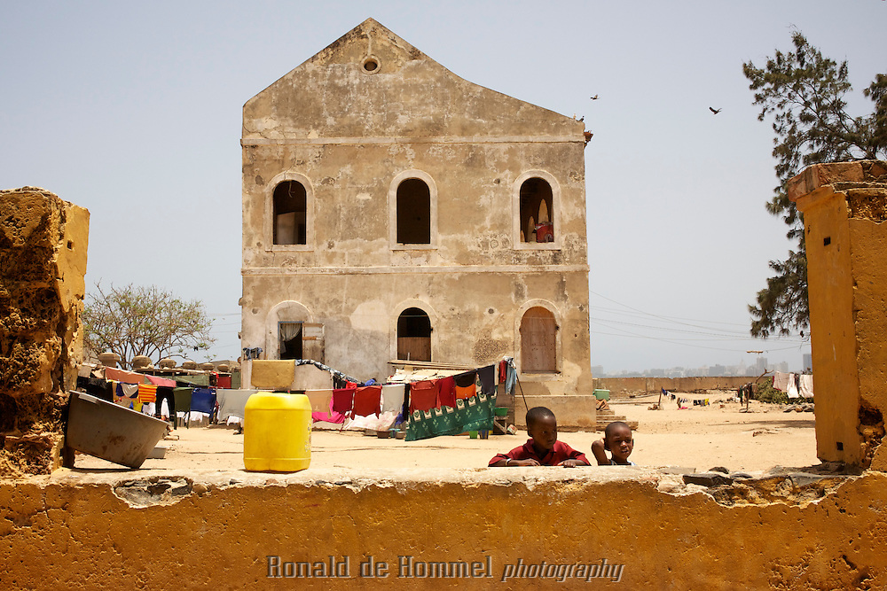 An old house on Ile de Goree off the coast of Dakar in Senegal. The island with its beautiful colonial architecture is an important symbol against the slave trade. Even though some historians claim Goree was not actually a major post in the slave trade the small island with its slave museum attracts many visitors from all over the world. Many are African Americans who came to Africa to explore their roots.