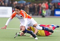 AERDENHOUT - 09-04-2012 - Robin de Boer, maandag tijdens de finale tussen Nederland Jongens B en Spanje Jongens B  (3-1) , tijdens het Volvo 4-Nations Tournament op de velden van Rood-Wit in Aerdenhout. Jongens U16 wordt kampioen.FOTO KOEN SUYK
