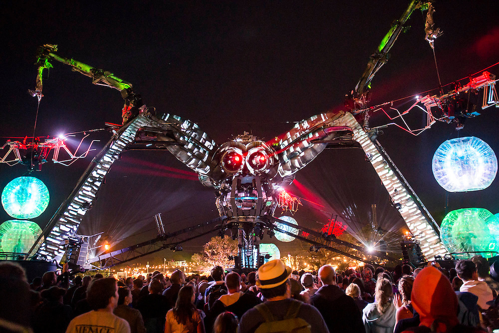 Metamorphosis - the Arcadia Spectacular - a  show with giant spider. The 2015 Glastonbury Festival, Worthy Farm, Glastonbury.