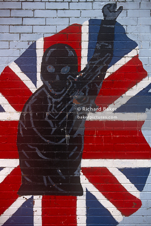 Loyalist mural on a wall in a Protestant area of Belfast, on 7th June 1995, in Belfast, Northern Ireland, UK.