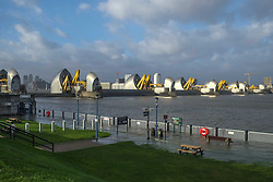 January 3, 2018 - London, United Kingdom - The Thames Barrier has been closed to prevent possible flooding in London  by a  combination of high spring tides and Storm Eleanor. (Credit Image: © Claire Doherty/Pacific Press via ZUMA Wire)
