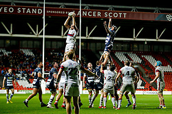 Doncaster Knights win a lineout against Bristol Rugby replacement Mark Sorenson - Mandatory byline: Rogan Thomson/JMP - 06/11/2015 - RUGBY UNION - Ashton Gate Stadium - Bristol, England - Bristol Rugby v Doncaster Knights - Greene King IPA Championship.