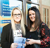22/07/2015 repro free Tara Spelman and Slyvia Nolan Knocknacarra at the Ulster Bank sponsored evening at The Galway International Arts Festival's production of Frank McGuinnesses'  The Match Box, starring Cathy Belton At the Town Hall Theatre. Photo:Andrew Downes. xposure