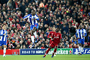 FC Porto midfielder Danilo Pereira (22) gets up high to head clear during the Champions League Quarter-Final Leg 1 of 2 match between Liverpool and FC Porto at Anfield, Liverpool, England on 9 April 2019.