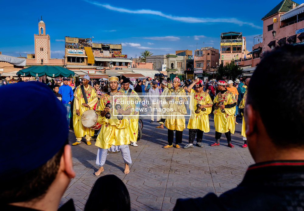 Men playing drums and performing a traditional dance in the Jemaa el Fna, Marrakech, Morroco, North Africa<br /> <br /> (c) Andrew Wilson   Edinburgh Elite media