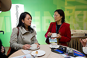 Attendants mingle before Bloomberg Forum 'Green Evolution: China and the Global New Energy Race', at USA Pavilion, in Shanghai World Expo 2010, China, on October 21, 2010. Photo by Lucas Schifres/Pictobank