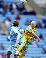 Coventry - Saturday, March 8th, 2008: Stephen Hughes of Coventry City and Matthew Pattison of Norwich City during the Coca Cola Championship match at the Ricoh Arena, Coventry. (Pic by Paul Hollands/Focus Images)
