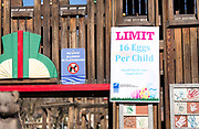 Signage for the 21st Annual Easter Egg Hunt at Winnequah Park in Monona, WI on Saturday, April 20, 2019.