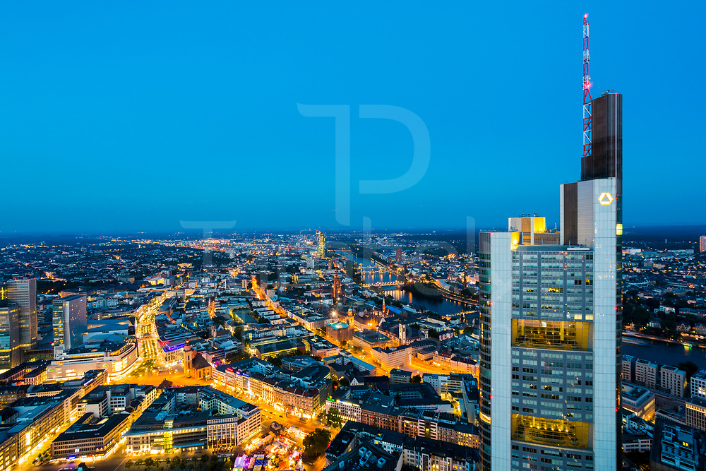 Frankfurt in summer from above by the sunset