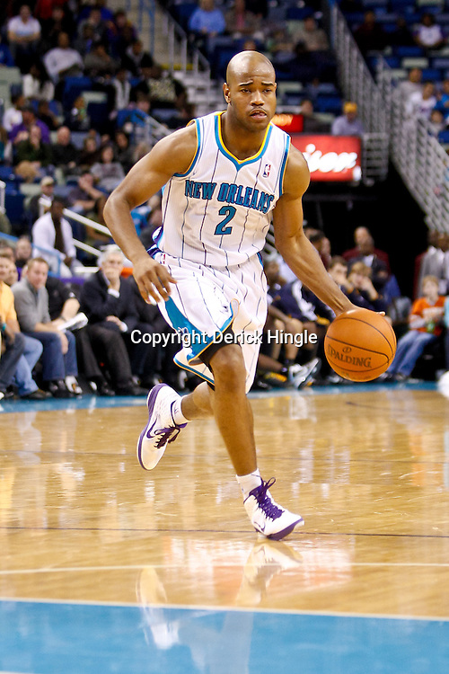 December 17, 2010; New Orleans, LA, USA; New Orleans Hornets point guard Jarrett Jack (2) against the Utah Jazz during the second half at the New Orleans Arena.  The Hornets defeated the Jazz 100-71. Mandatory Credit: Derick E. Hingle