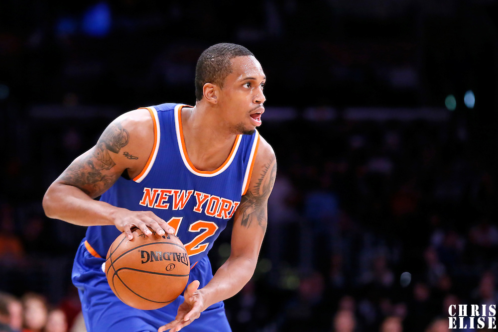 12 March 2015: New York Knicks forward Lance Thomas (42) dribbles during the New York Knicks 101-94 victory over the Los Angeles Lakers, at the Staples Center, Los Angeles, California, USA.